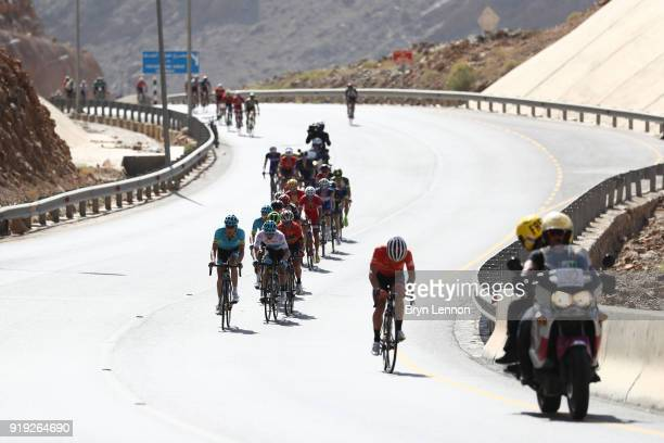 9th Tour of Oman 2018 / Stage 5 Miguel Angel Lopez of Colombia White Best Young Rider Jersey / Jan Hirt of Czech Republic / Alexey Lutsenko of...