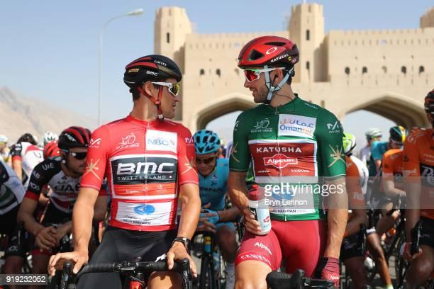 9th Tour of Oman 2018 / Stage 5 Start / Greg Van Avermaet of Belgium Red Leader Jersey / Nathan Haas of Australia Green Sprint Jersey / Peloton /...