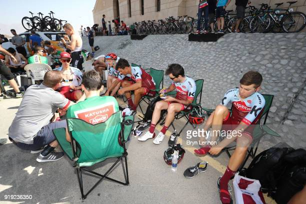 9th Tour of Oman 2018 / Stage 5 Start / Ian Boswell of The United States / Steff Cras of Belgium / Nathan Haas of Australia Green Sprint Jersey /...