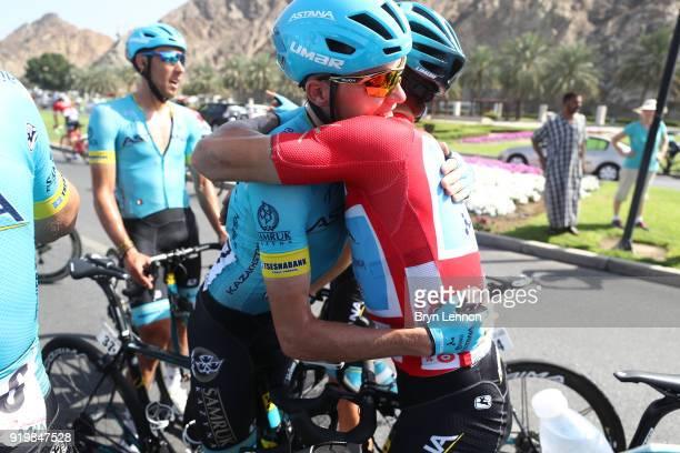 9th Tour of Oman 2018 / Stage 6 Arrival / Alexey Lutsenko of Kazakhstan Red Leader Jersey / Nikita Stalnov of Kazakhstan / Celebration / Team Astana...