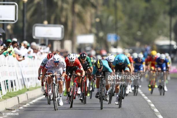 9th Tour of Oman 2018 / Stage 6 Arrival / Sprint / Alexander Kristoff of Norway / Bryan Coquard of France / Greg Van Avermaet of Belgium Green Sprint...