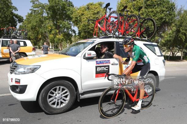 9th Tour of Oman 2018 / Stage 6 Greg Van Avermaet of Belgium Green Sprint Jersey / Team BMC Racing Team / Car / Feed Zone / Al Mouj Muscat Matrah...