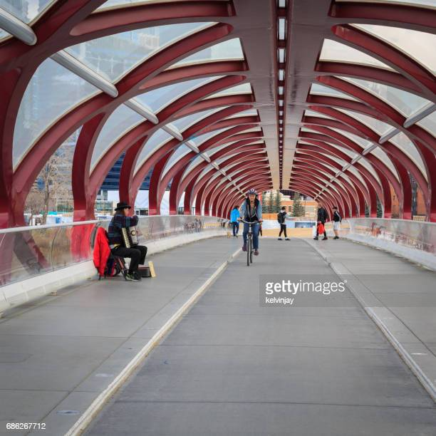 Cycling across the Peace Bridge in Calgary, Canada.