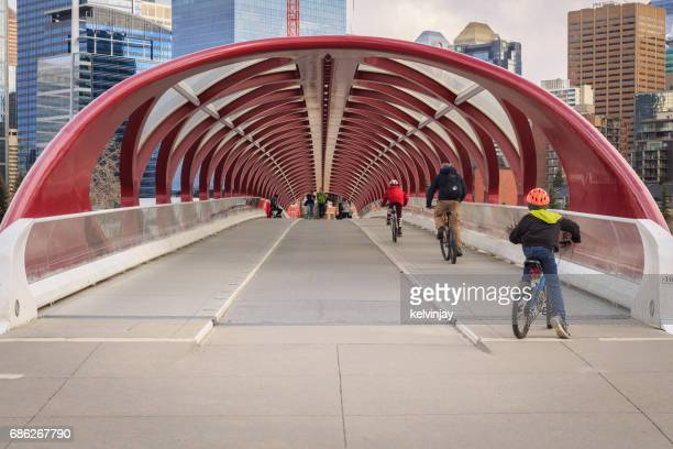 Cycling across the Peace Bridge in Calgary, Canada
