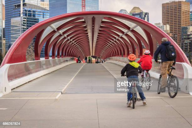 Cycling across the Peace Bridge in Calgary