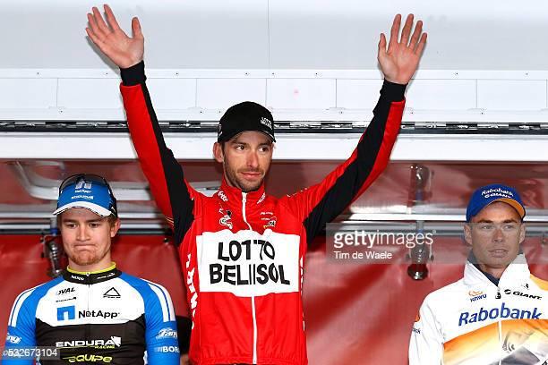 Albert Achterhes Pet Ronde van Drenthe 2014/ Podium/ Scott THWAITES/ Kenny DEHAES/ Bert Jan LINDEMAN/ Celebration Joie Vreugde/ Tim De Waele