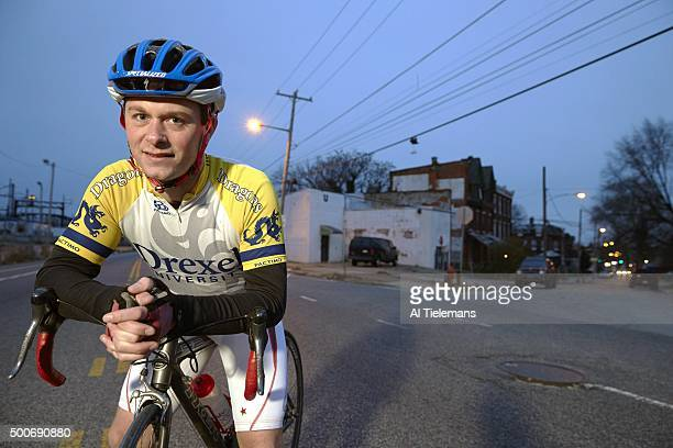 Brain Injury Special Report Closeup portrait of amateur cyclist Doug Markgraf posing during photo shoot on Lancaster Avenue Markgraf who was struck...