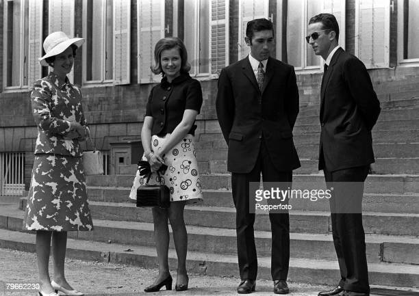 Cycling Brussels Belgium 30th July 1970 King Badouin and Queen Fabiola of Belgium receive cycling star Eddy Merckx and his wife after he had won the...
