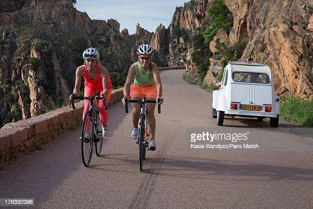 Cycling champions Marion Rousse and Pauline FerrandPrevot are photographed for Paris Match on May 15 2013 in Ajaccio France