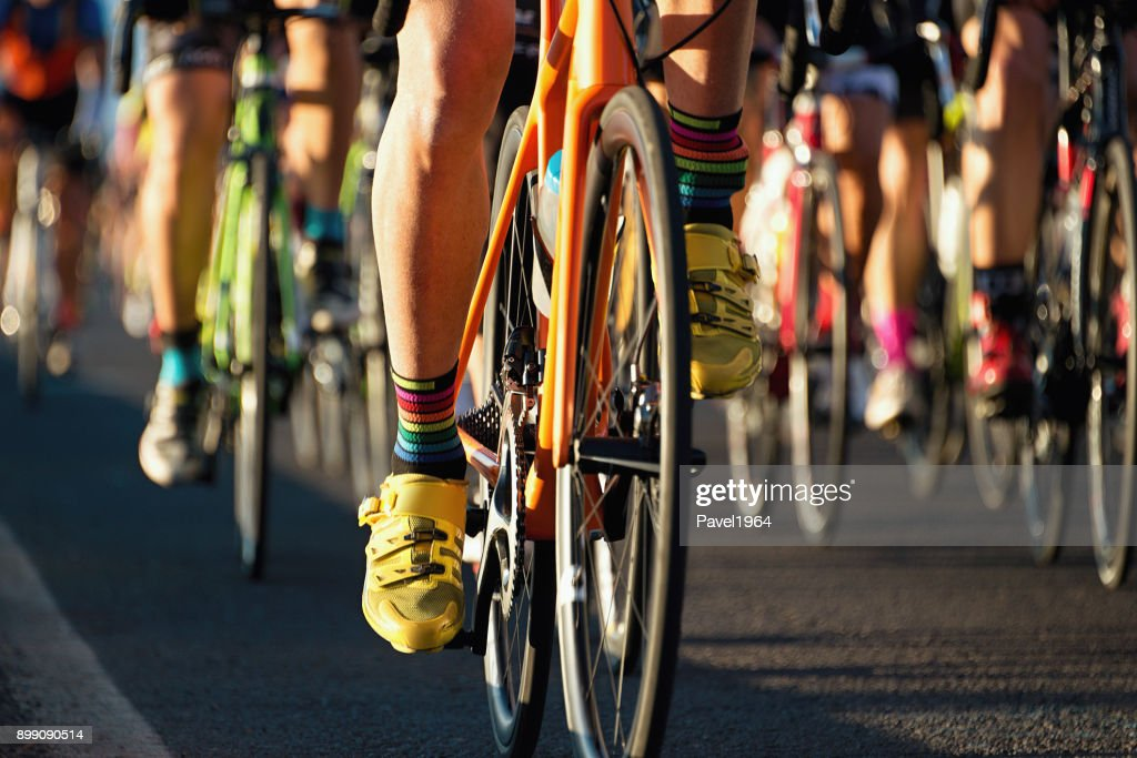 Cycling competition,cyclist athletes riding a race : Stock Photo