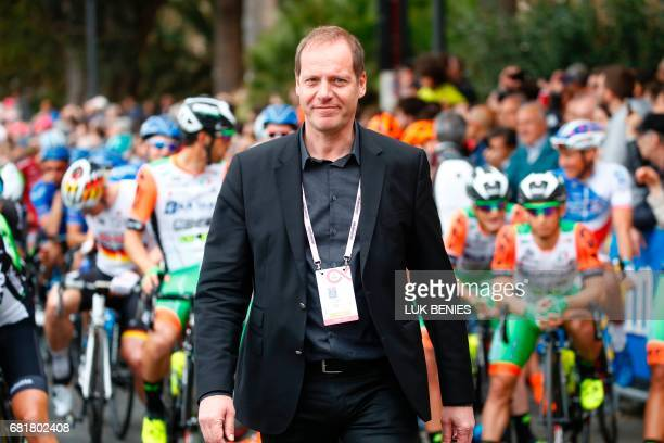 ASO cycling director Christian Prudhomme is pictured before the start of the 6th stage of the 100th Giro d'Italia Tour of Italy cycling race from...