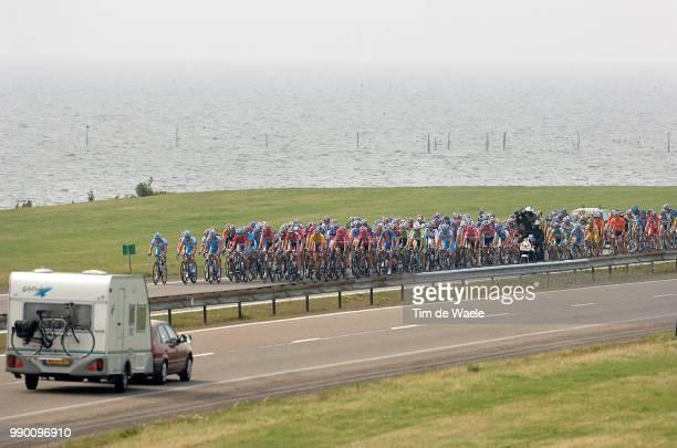 """Eneco Tour, Stage 1Illustration Illustratie, Peleton Peloton, Landscape Paysage Landschap, """" Afsluitdijk """" Brigde Pont Brug, Waden Sea Zee Mere,..."""
