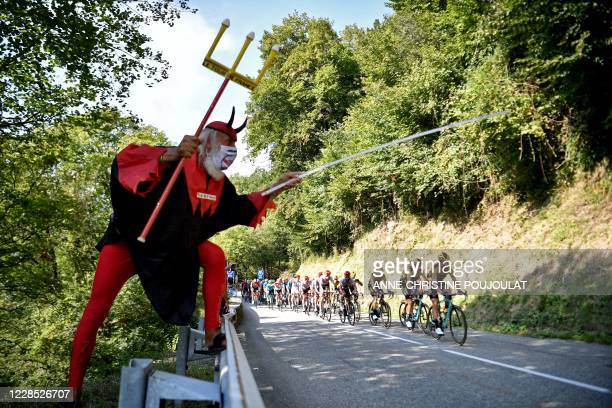 TOPSHOT Cycling fan Didi Senft aka El Diablo cheers for the riders during the 16th stage of the 107th edition of the Tour de France cycling race 164...