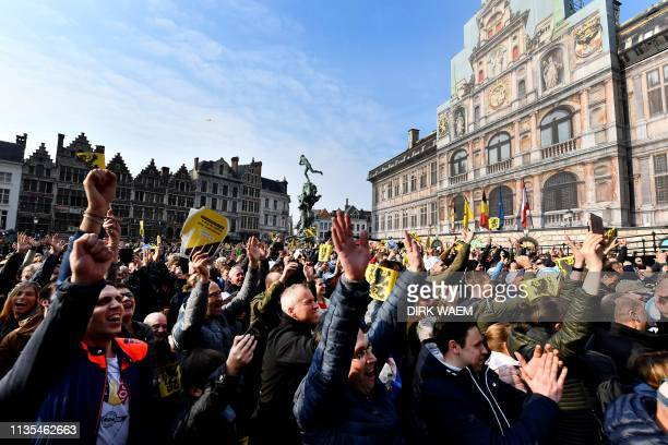 Cycling fans gather at the start of the 103rd edition of the 'Ronde van Vlaanderen - Tour des Flandres - Tour of Flanders' one day cycling race 1km...