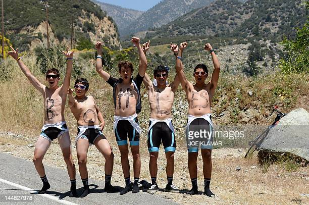 A cycling fans wait for riders during the 7th stage of the Amgen Tour of California from Ontario to Mt Baldy on May 19 2012 in Mt Baldy...