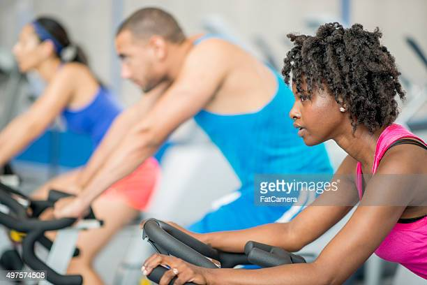 Cycling in a Fitness Class at the Gym