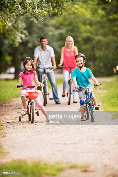 Cycling in the park.