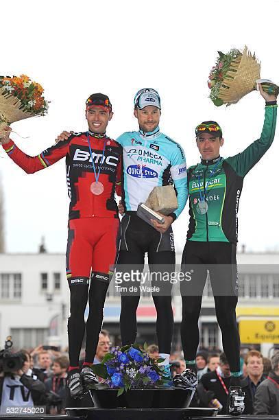 Paris-Roubaix 2012 Podium / Alessandro BALLAN / Tom BOONEN / Sebastien TURGOT / Celebration Joie Vreugde / Compiegne - Roubaix / Parijs /c)Tim De...