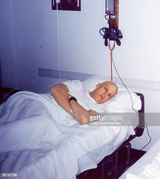 Portrait of Lance Armstrong at Indiana University School of Medicine Hospital lying in hospital bed during treatment for testicular cancer...