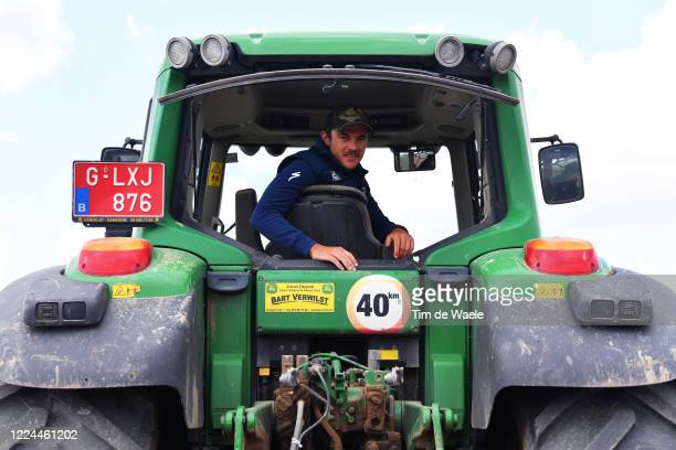 Cycling Pro Yves Lampaert from Belgium and Team Deceuninck Quick-Step team trains and helps at home on the family farm during the Covid-19...