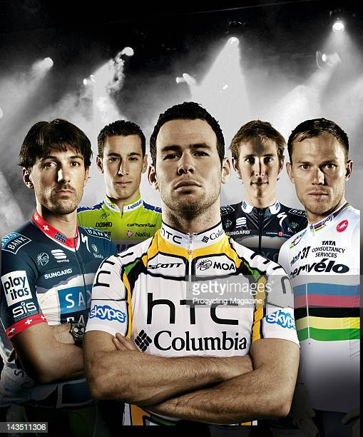 Cycling professionals Fabian Cancellara, Vincenzo Nibali, Mark Cavendish, Andy Schleck and Thor Hushovd, December 2, 2010.