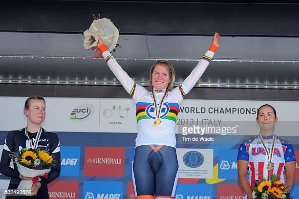 Road World Championships 2013 / TT Elite Women Podium / Linda VILLUMSEN Silver Medal / Ellen VAN DIJKE Gold Medal / Carmen SMALL Bronze Medal /...