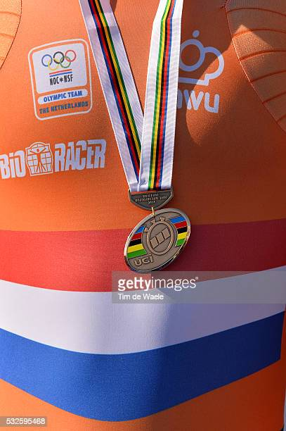 Road World Championships 2014 / TT Men Elite Podium Illustration Illustratie / Tom DUMOULIN Bronze Medal Celebration Joie Vreugde / Ponferrada -...