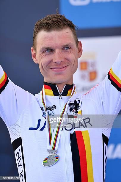 Road World Championships 2014 / TT Men Elite Podium / Tony MARTIN Silver Medal Celebration Joie Vreugde / Ponferrada - Ponferrada / Time Trial Contre...