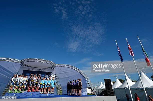 Road World Championships 2014 / TTT Women Elite Podium / Team Orica - Ais / Team Specialized Lululemon / Team Astana Bepink Womens Team / Celebration...