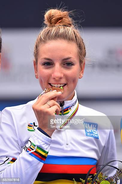 Road World Championships 2014 / Women Elite Podium / Pauline FERRAND PREVOT Gold Medal Celebration Joie Vreugde / Ponferrada Ponferrada / Femmes...