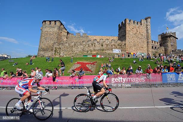 Road World Championships 2014 / Women Elite Tatiana ANTOSHINA / Desiree EHRLER / Illustration Illustratie / Peleton Peloton / Ponferrada Castle...