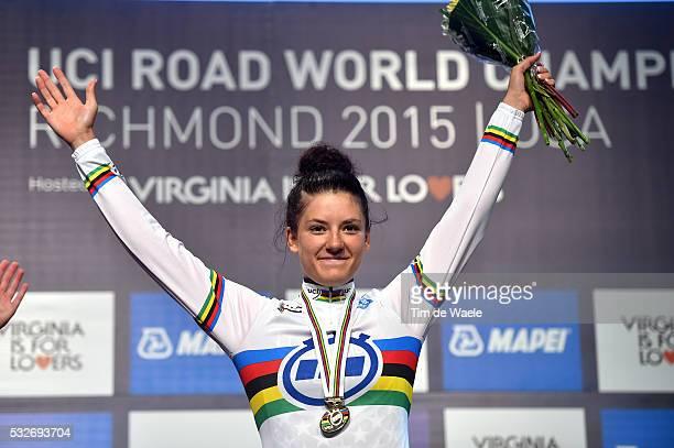 Road World Championships 2015 / ITT Junior Women Podium/ DYGERT Chloe World Championships Jersey/ Celebration Joie Vreugde/ Richmond - Richmond /...