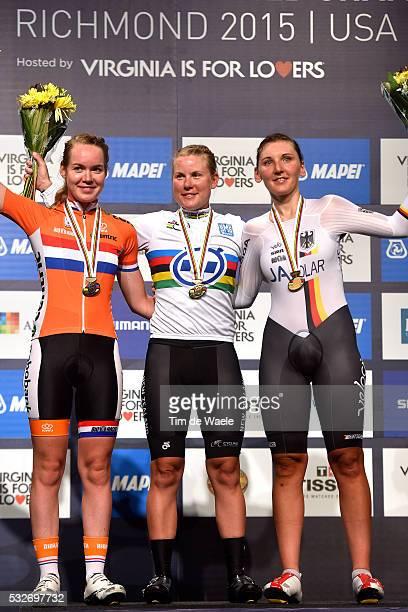 Road World Championships 2015 / TT Women Elite Podium/ VAN DER BREGGEN Anna Silver Medal/ VILLUMSEN Linda Gold Medal/ BRENNAUER Lisa Bronze Medal/...
