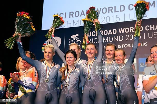 Road World Championships 2015 / TTT Women Podium / Team Velocio Sram Gold Medal / Alena AMIALIUSIK / Lisa BRENNAUER / KarolAnn CANUEL / Barbara...