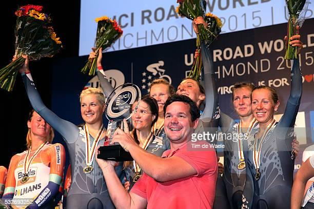 Road World Championships 2015 / TTT Women Podium / Team Velocio Sram Gold Medal / Ronny LAUKE Sportsdirector / Alena AMIALIUSIK / Lisa BRENNAUER /...