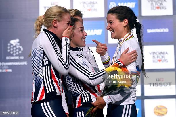 Road World Championships 2015 / Women Elite Podium/ ARMITSTEAD Elizabeth Gold Medal/ BARNES Alice / GARNER Lucy / SIMMONDS Hayley / Celebration Joie...