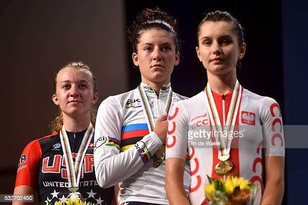 Road World Championships 2015 / Women Juniors Podium/ WHITE Emma Silver Medal/ DYGERT Chloe Gold Medal/ SKALNIAK Agnieszka Bronze Medal/ Celebration...