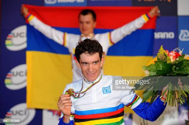 Road World Championships, Road Men -23Podium/ Betancur Carlos Alberto Silver Medal, Romain Sicard Gold Medal, Celebration Joie Vreugde, Championat Du...