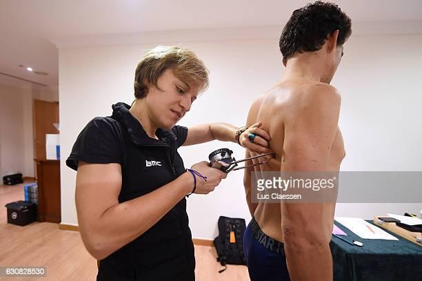 Team BMC Racing Team 2017 Judith HAUDUM Nutritionist / Greg VAN AVERMAET / Medical CheckUp/ Mediaday / Team BMC / ©Tim De WaeleLC/Tim De Waele/Corbis...