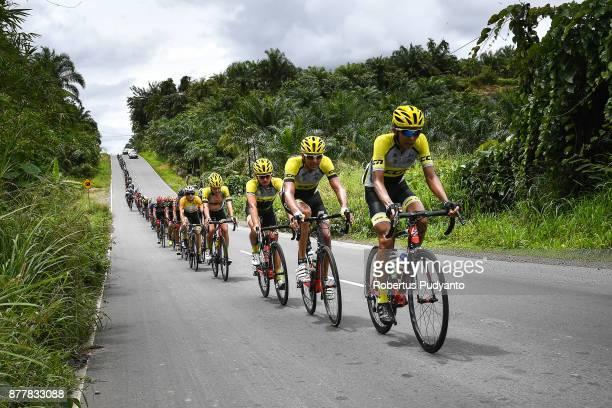 Cycling Team Laos lead the peloton during stage 6 of the Tour de Singkarak 2017 Pariaman CityPasaman Barat 1457 km on November 23 2017 in Pasaman...