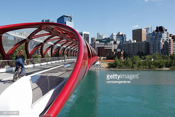 cycling the peace bridge to corporate calgary - calgary stock pictures, royalty-free photos & images