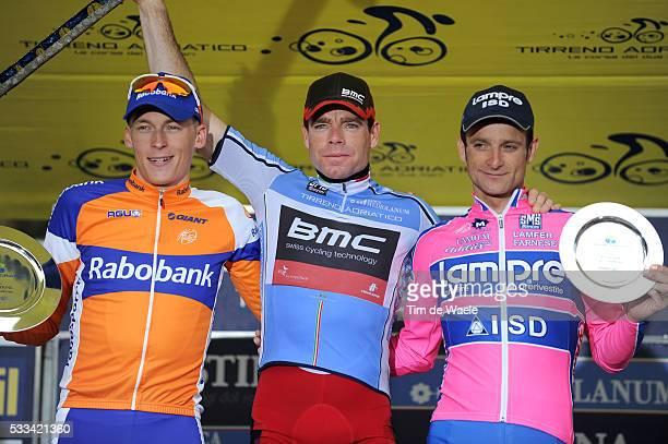 Tirreno - Adriatico 2011 / Stage 7 Podium / Robert GESINK / Cadel EVANS Blue Leader Jersey / Michele SCARPONI / Celebration Joie Vreugde / San...