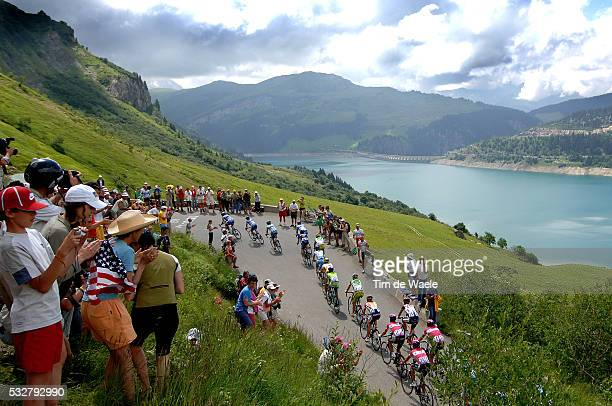Tour De France 2005 Stage 10 Grenoble Courchevel The peloton cycle past Lake Meer during stage 10