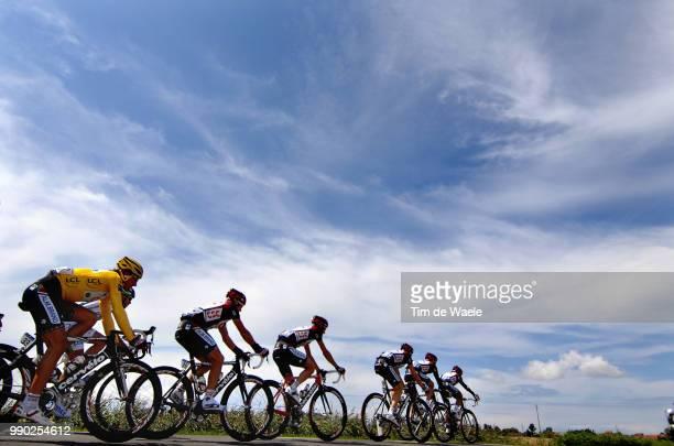 Tour De France 2007, Stage 2Illustration Illustratie, Peleton Peloton, Silhouet, Sky Ciel Hemel Lucht, Team Csc, Cancellara Fabian Yellow Jersey ,...