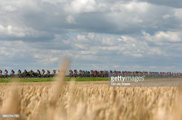 Tour De France 2007, Stage 3Illustration Illustratie, Peleton Peloton, Corn Field Champs Korenveld, Clowds Sky Ciel Lucht Nuages Wolken, Landscape...