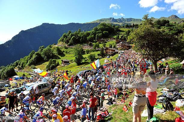 'Cycling Tour de France 2009 / Stage 15 Illustration Illustratie / Peleton Peloton / Landscape Paysage Landschap / Mountains Montagnes Bergen VERBIER...