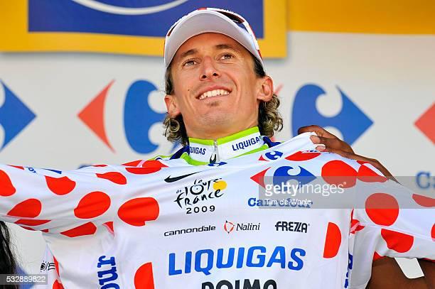 'Cycling Tour de France 2009 / Stage 15 podium / PELLIZOTTI Franco Mountain Jersey / Celebration Joie Vreugde / Maillot de Montagne Bollekestrui /...