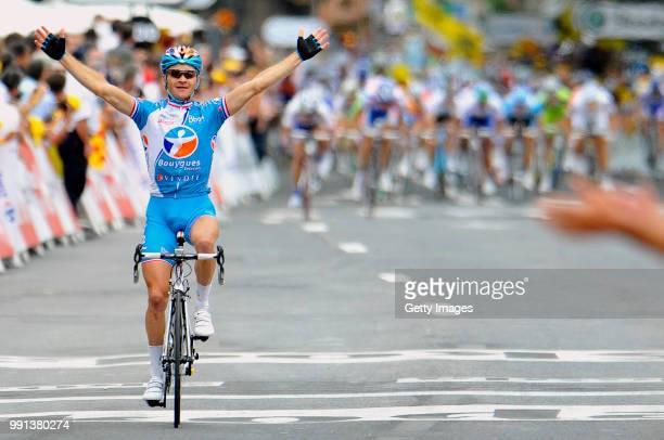 Tour De France 2009 Stage 5Arrival Voeckler Thomas Celebration Joie Vreugde Arrivee Aankomstle Cap D'Agde Perpignan Rit Etape Tdf Tim De Waele