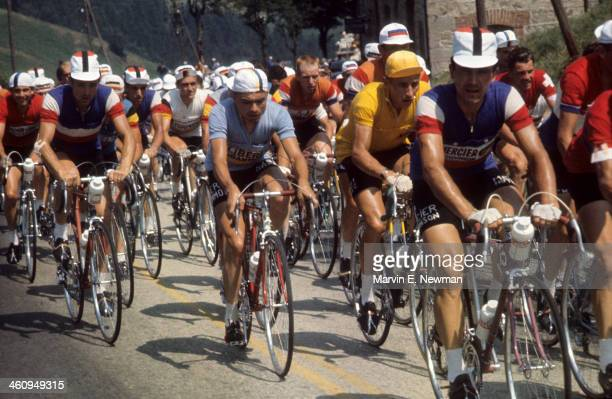 Tour de France France Jacques Anquetil in action wearing yellow jersey during race France 6/25/1961 7/16/1961 CREDIT Marvin E Newman