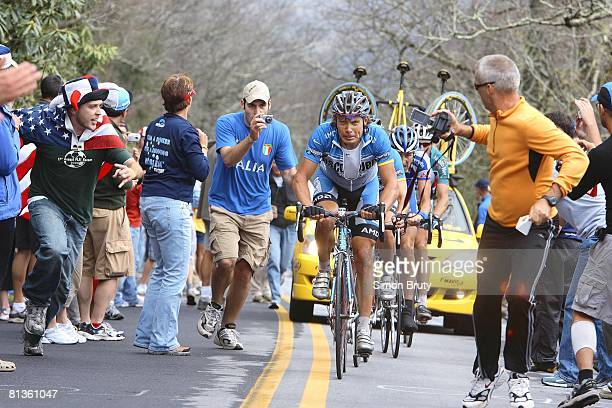 Cycling Tour de Georgia Discovery Team Viatcheslav Ekimov in action riding on Brasstown Bald Mountain Stage 5 View of fans Towns County GA 4/20/2006
